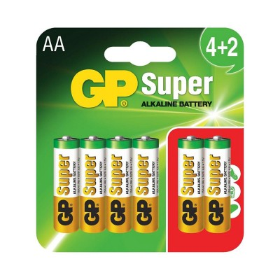 Pila alcalina LR06 AA GP Batteries Super 4+2 Uds.