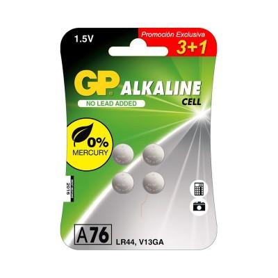 Pila alcalina botón LR44 A76 GP Batteries 3+1 Uds.
